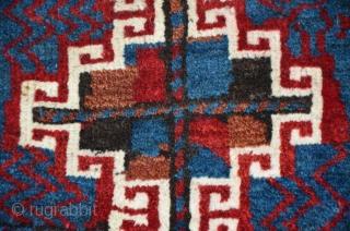 Kurdish tribe bagface from Baluchistan. Symmetric knots, 48 x 38 cm