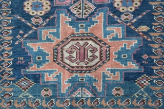 "East Caucasian Leshgi, green ground Kufi border, 354 x 134 cm, a twin piece is illustrated in Doris Eder's ""orient carpets"" vol. I. Caucasian plate 433"