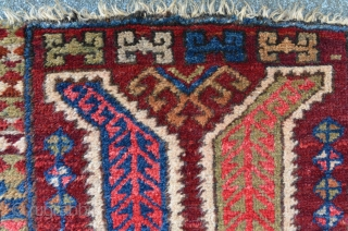 Anatolian Yastik with great colors, some small holes and floor damages, 84 x 47 cm