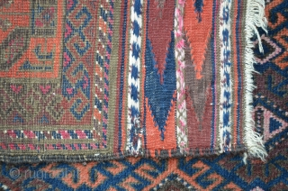 Baluch 238 x 125 cm, worn, but still loveable and ready to put on the floor.