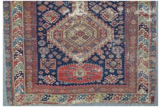 Antique Shirvan, 124 x 293 cm, sides reduced, some old restorations