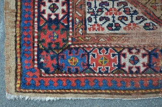 NWP Kurdish rug with camelhair border, 347 x 121 cm, some old re-knotting with faded away colors, beautiful drawings.