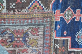 Caucasian long rug 317 x 104 cm, great colors including tomato red, aubergine and one camel ground medallion, archaic patterns.
