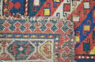 Caucasian Fragment 158 x 134 cm, probably from the Moghan area. Pretty antique with excellent colors