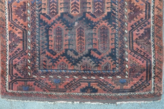 Antique Baluch with Boteh field, fascinating colors, 164 x 88 cm