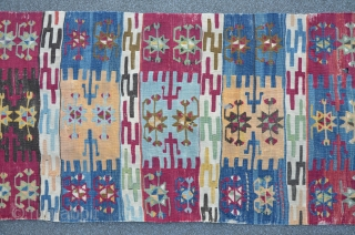 Anatolian Kilim, 307 x 73 cm, brilliant colors, ca.200 years old.