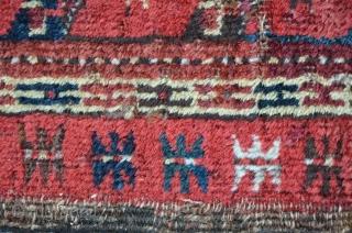 Antique Beshir, 195 x 105 cm, several stepmarks and fissures. original condition