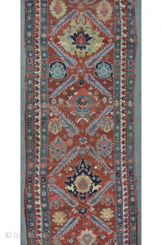 Saujbulagh long rug with Harshang and Bird Patterns, 389 x 102 cm, 18th / 19th century.