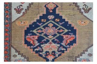 "The ""Nintendo"" Hamadan carpet. Imagine Super Mario fighting trough Herati Gardens. Two medaillons on Camel ground. 263 x 109 cm"