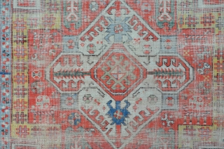 Very antique Kasim Ushag, 197 x 117 cm. heavy worn but impressive on the wall.