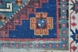 Gendje rug with four archaic medaillons, great colors, ca. mid 19th, 207 x 99 cm