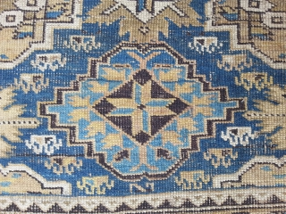 East Caucasian, Baku region, 120 x 139 cm, beautiful composed with pastell colors, very damaged 19th rug.