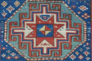 Antique Caucasian Kasak, 222 x 104 cm, three octagon medaillons with powerful memling guls on a star field....magic! Brilliant colors including a beautiful turquoise.