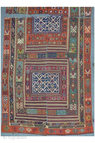 Reyhanli Kilim, four fragmented pieces, 410 x 167 cm, fantastic colors and very fine wool quality