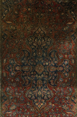 Manchester Kashan.  Commanding center medallion achieved by this fine weave of 420 knots per sq. inch.  Reselvaged.  Full pile to the lower half.  Even wear to the upper  ...