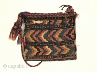 "Afshar Chanteh. Turn of the century. Rare and fully intact small bag. A tribal treasure. Chevron kilim back. Mint condition considering age. Original sides. 7 colors. 1'0"" x 1'1"". Delicately hand washed."