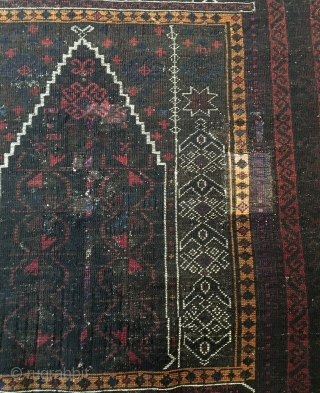 Kaudani Baluch Prayer Rug.  SE Persia.   Circa Antique.  Silk highlights in center.   Full pile.  Few old invisible reweaves. (only visible on back).  54x38.  7 colors.  ...