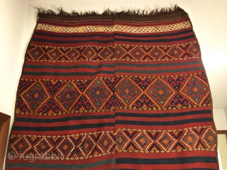 "Uzbek Tatari Kilim Flatweave. Last Quarter 19th Century. Mint condition considering age. All sides original with macrame ends. 6 colors. 12'9"" x 5'0"". Delicately hand washed."