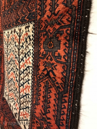 Antique Baluch Rug. Sangtschuli Tribe - Northwest Afghanistan. Bird tree main border frames a window viewing a forest. Flat-woven ends contain five horizontal stripes. Finely woven with soft, lustrous wool. Mint condition.  ...