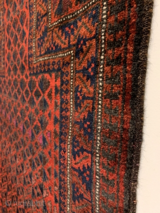 "Baluch Prayer Rug. North East Persia. 20th Century. Willow leaf trees, quilted diamonds, and Ashik gols intwine and radiate upward into prayer niche. Excellent condition with full pile. 7 colors. 4'3"" x  ..."