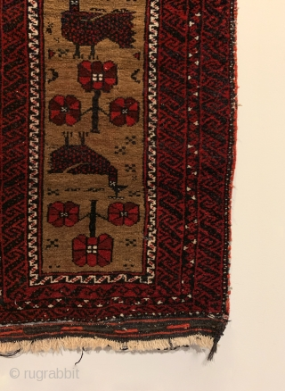 """Vintage Baluch Bag. Baluchi Bird Balisht on camel field complete with kilim back. Original condition. No repairs. 5 colors. 2'8"""" x 1'6"""". Delicately hand washed."""