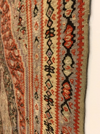 "Antique Senneh Kilim. Fine weave. All original sides. 8 colors. 6'4"" x 4'1"". Delicately hand washed."
