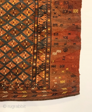 "Antique Turkmen Yomud (Yomut) Torba. Central Asia. Last Quarter 19th Century. Silk and wool embroidery on wool. Overall deign with alternating rows of hooked diamonds. 7 colors. 2'6"" x 3'0"". Delicately hand  ..."