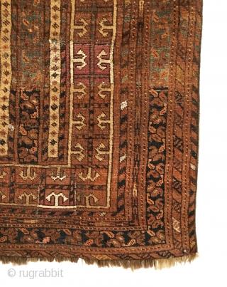 "Antique Ersari Beshir Prayer Rug. Gul-i badam (""almond blossom"") Main Border. Old expert repairs. 6 colors. 2'11 x 3'11. Delicately hand washed"