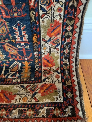 Antique Caucasian Karabagh Runner. SE Caucasus. Last Quarter 19th Century. Three rows of tree shrub forms surrounded by striking angled botehs on deep blue field. Beautiful repeating colorful blossomed flower border. 8  ...