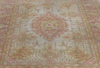 """Antique Agra from India, circa late 19th cen. , size: 9'4"""" x 12' very good condition with lovely soft colors."""