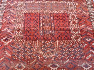 "Antique Turkmen Ensi circa 1860's , size: 4'1 x 5'5""ft. 125 x 165 cm."