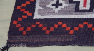 "Antique Native American Navajo Indian Wool rug, 3'4"" x 5'4""ft. no stains, no color run, wonderful condition."