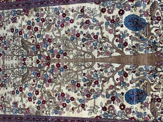 """Antique Persian Kermanshah Tree of Life rug, beautiful Blossom tree with peacocks, birds and Animals, ca.1880s, it measures (4'6"""" x 6'6"""")and(132 x 198 cm.) mint original condition, has been hand washed and  ..."""