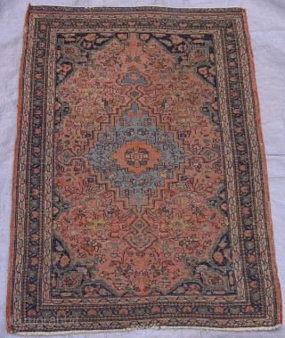 "Antique Persian Farahan Sarouk rug, 1'8"" x 2'5"" ft. /51 x 61 cm. , circa 1880's , great original condition, no repairs."