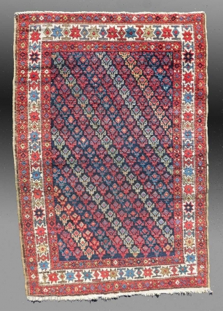 """Afshar Rug, 19th Century, 2'6"""" x 4'4""""   An extremely colorful rug with a cotton foundation, suggesting the Caucasian attribution.  The wool pile is extremely lustrous and soft, approaching the luster and handle  ..."""