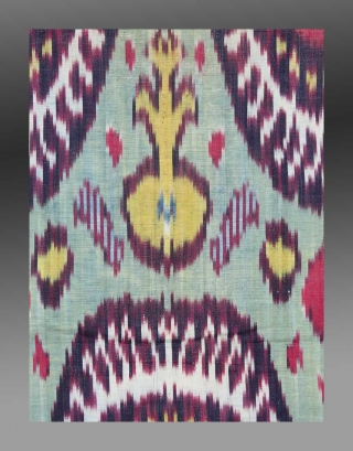 """Ikat Panel, (mounted fragment), Central Asia, 19th Century, 10 ½"""" x 1'10""""  A soft aqua marine color provides a pleasing background for this small ikat fragment.  The colors are all derived from  ..."""