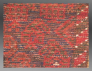 """Baluch Bag Face (fragmented), SE Persia(?), 19th century, 1'8"""" x 2'4""""  An exceptionally colorful example of Baluch weaving, possibly from southeast Persia.  The questions regarding provenance are based upon the structure and  ..."""