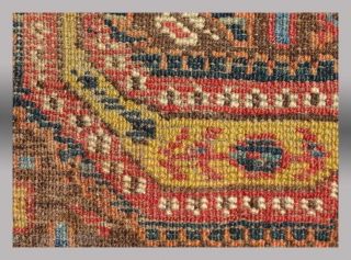 """Ersari Fragment, Central Asia, 19th century, 8.5"""" x 8.75""""  Believed to be a fragment from the border of what was once a very grand carpet attributable to the middle Amu Darya region of  ..."""