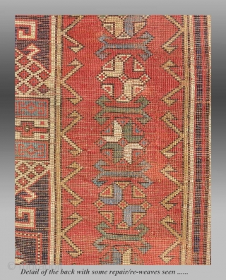 """Northeast(?) Anatolian Rug, circa 1900, 4'1"""" x 10'  An extremely interesting design, possibly from NE Anatolia, with a saturated palette of all natural dyes.    There are some repairs, well done and virtually  ..."""