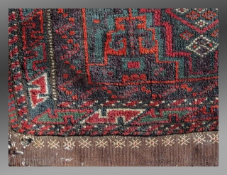 """Baluch Balisht, SE Persia, late 19th/early 20th C., 1'5"""" x 2'4""""  An example of what some might call a """"Salor Khani"""" design type.  The condition is good except for minor oxidation and a small  ..."""