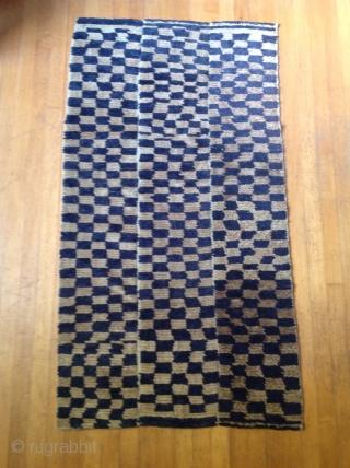Tibetan Checker board Tsuk Truk Circa  1930 Tibet 31 x 56 inches