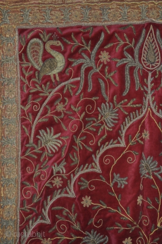 Temple Valance. Metallic thread on velvet. Early 20th century. Rajasthan or Gujarat, India 47x 71 inches