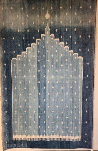 Mirhab Dhurrie. Indigo cotton flat weave. 72 x 106 inches Late 19th century India