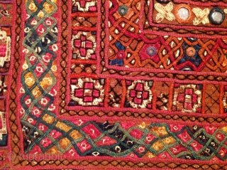 Sindhi embroidery.  19th Century. (1860-1880).  42 x 60 inches. condition is delicate. Silk embroidery on cotton. Some corrosive dye on the silk thread. Lovely and early. Pakistan. (Possibly Mithi region od sindh)