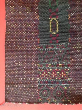 Mrauk Breast coverlet. Arakhine state, Burma Early 20th century. Supplemental weft patterning in silk on cotton 14 x 25