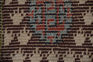 Gorgeous little Tibetan saddle carpet!!! 20 x 46 inches Great color. Great wool. An unusual variation of the warp-faced back weave.
