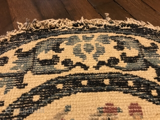 """lovely white ground ningxia saddle rug, west china, 19th century, 130 x 58 cm, 4'3"""" x 1'11"""", upper ends open, one half partly worn, no restoration"""