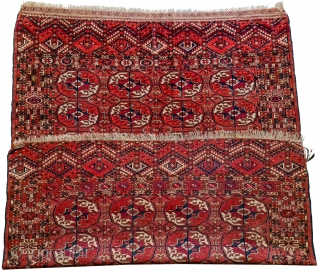 Antique Turkmen Tekke Early 20th century Has 8 Tekke guls with secondary chemche guls. Complex border with various elements including the tree design in the end panels, among other things.  In good condition  ...