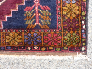 "Decorative semi-antique Turkish rug in excellent condition 49"" x 70"" dazzling colors in border."