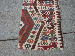 "semi-antique Anatolian kilim fragment.  26"" x 100"""